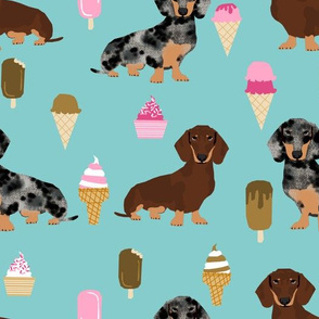 doxie ice cream fabric - dachshund dogs and ice creams fabric - blue/mint