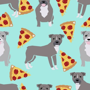 pitbull fabric - blue pitty pizza fabric - cute dogs and pizzas fabric - aqua