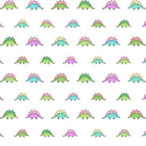 Little Stegosaurus - Green and Pink multicoloured on White