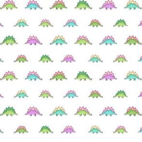 Little Stegosaurus - Green and Pink multicoloured on White