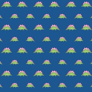 Green and Pink Little Stegosaurus on Dark Blue