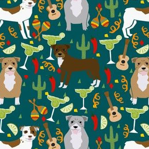 pitbull fiesta party fabric - margarita party cinco de mayo design - dark green