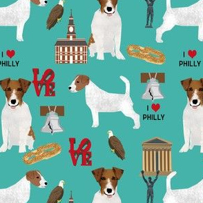 Jack Russell dog in Philadelphia fabric - cute jack russell loves philly fabric