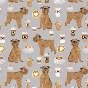 brussels griffon grey coffee fabric cute coffees and dogs design (smaller)