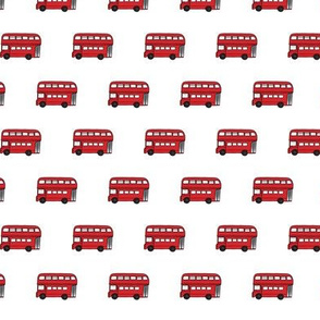 London Buses on white - 1 inch long buses