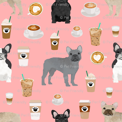 frenchie fabric - dogs and coffees french bulldogs dog fabric - pink