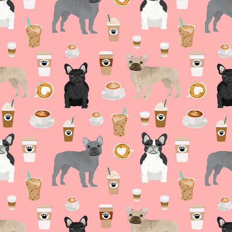 frenchie fabric - dogs and coffees french bulldogs dog fabric - pink fabric by petfriendly on Spoonflower - custom fabric