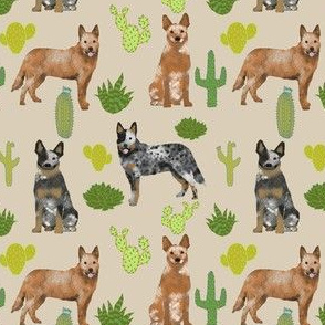 australian cattle dog fabric blue and red heelers cactus fabric - sand (smaller)