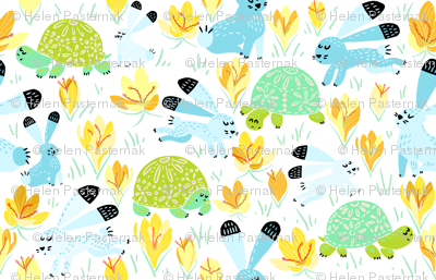 Spring with Tortoise and Hare (white) N5