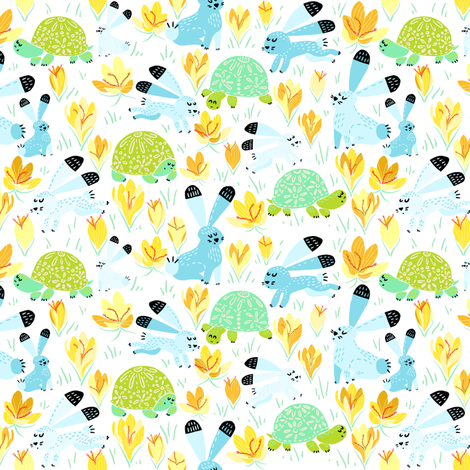 Spring with Tortoise and Hare (white) N5 fabric by helenpdesigns on Spoonflower - custom fabric
