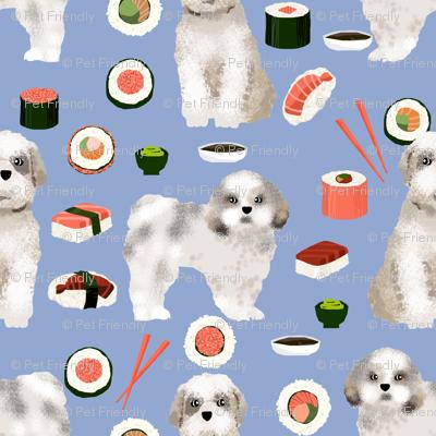 shih tzu dog fabric - cute dogs and sushi fabric - periwinkle