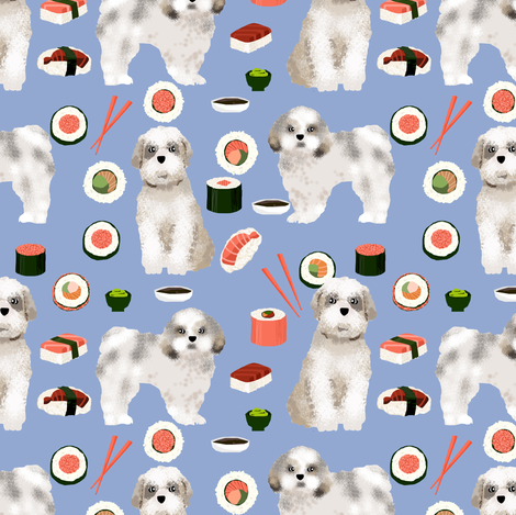 shih tzu dog fabric - cute dogs and sushi fabric - periwinkle fabric by petfriendly on Spoonflower - custom fabric
