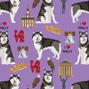 alaskan malamute loves philadelphia fabric - cute dogs and Philadelphia print - philly dog - purple