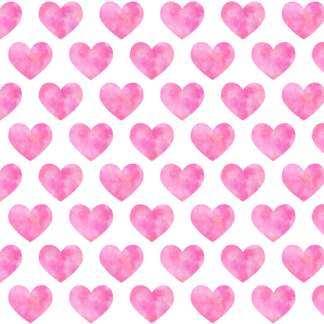 Pink Watercolor Hearts fabric by gingerlous on Spoonflower - custom fabric
