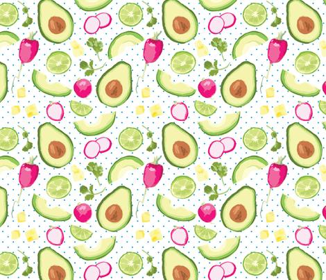 Avocado Veggie fabric by bluecasakitchen on Spoonflower - custom fabric