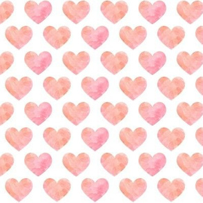 Pink + Peach Watercolor Hearts