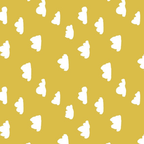 clouds // mustard cool gender neutral mustard yellow cloud design for baby (railroad)