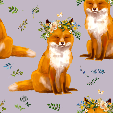 "8"" Bohemian Spring Fox - Lilac fabric by shopcabin on Spoonflower - custom fabric"