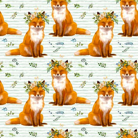 "4"" Bohemian Spring Fox - Green Stripes fabric by shopcabin on Spoonflower - custom fabric"