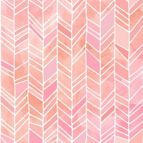 Pink + Peach Watercolor Chevron Herringbone