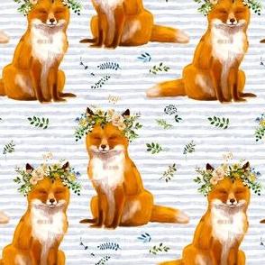 "4"" Bohemian Spring Fox - Blue Stripes"