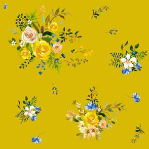 "21"" Bohemian Spring Fox Florals - Mustard Yellow"