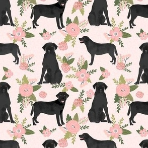 Black Lab labrador retriever dog pet quilt d floral dog breed quilt fabric