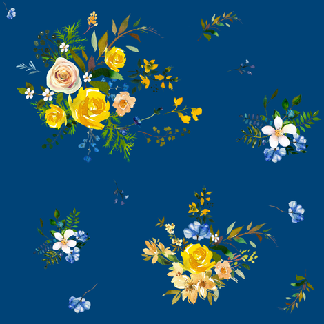 "8"" Bohemian Spring Fox Florals - Deep Blue fabric by shopcabin on Spoonflower - custom fabric"