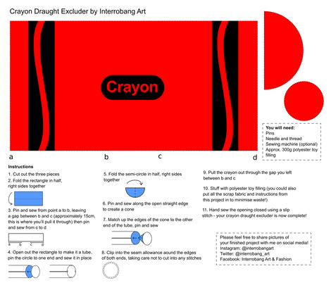 Red Crayon Draught Excluder Cut & Sew fabric by interrobangart on Spoonflower - custom fabric
