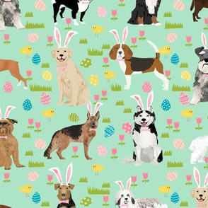dogs easter fabric - cute spring pastel dogs and easter eggs design - mint