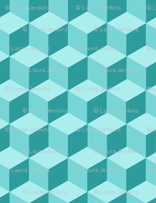 Teal Cube Repeat - Medium