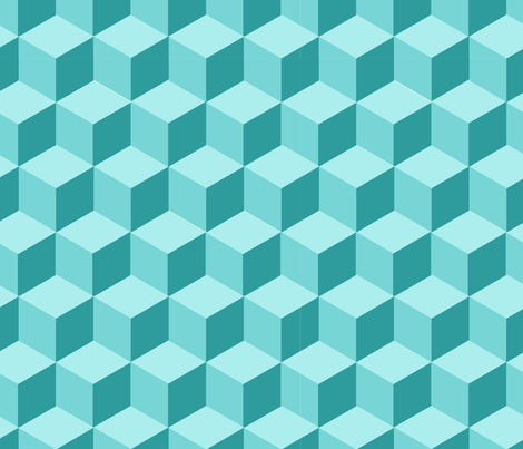 Teal Cube Repeat - Medium fabric by sugar&spaceships on Spoonflower - custom fabric
