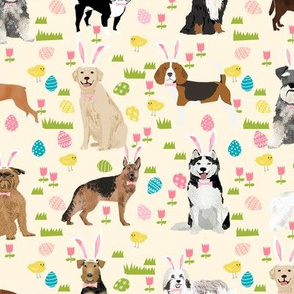 dogs easter fabric - cute spring pastel dogs and easter eggs design - light