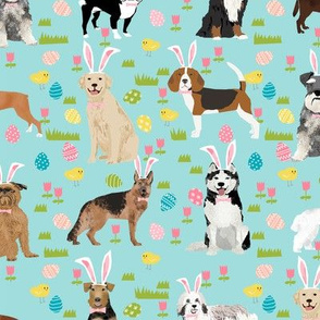 dogs easter fabric - cute spring pastel dogs and easter eggs design - blue