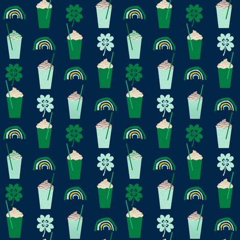 shamrock shake mint iced drink coffee milkshake st patricks day rainbows (smaller) fabric by charlottewinter on Spoonflower - custom fabric