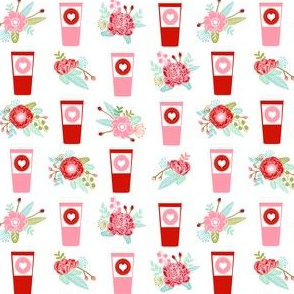 coffee valentines love fabric coffees lattes best love hearts design (smaller)