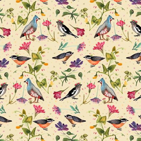 Birds and wildflowers peach - small scale fabric by gomboc on Spoonflower - custom fabric