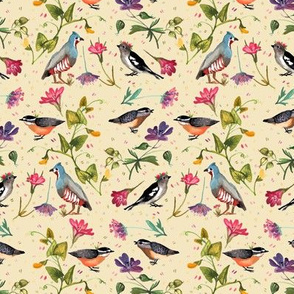 Birds and wildflowers peach - small scale