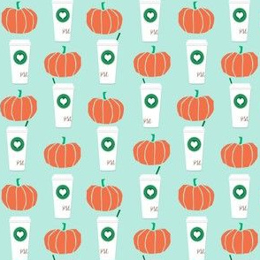 pumpkins autumn fall pumpkin spice latte fabric, autumn girls pumpkin spice, coffee, psl, pumpkin spice latte, latte, autumn, fall (smaller)