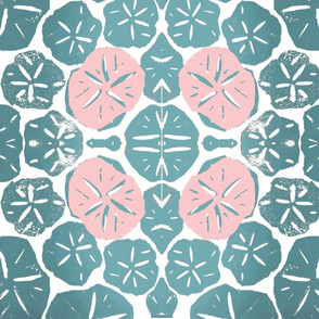 sand dollar - light pink and aqua