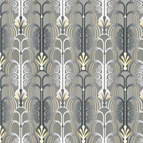 Art Deco Pattern white/gold