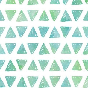 Triangles - Blue + Green Watercolor Shapes Baby Boy Kids GingerLous