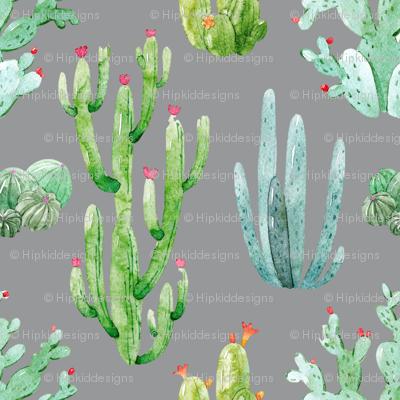 """6"""" Watercolor Desert Cactus // Charcoal"""