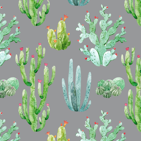 "6"" Watercolor Desert Cactus // Charcoal fabric by hipkiddesigns on Spoonflower - custom fabric"