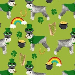 schnauzer leprechaun fabric - dog st patricks day rainbow pot of gold design - lime