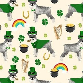 schnauzer leprechaun fabric - dog st patricks day rainbow pot of gold design - cream