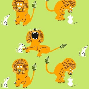 lion + mouse_celery green