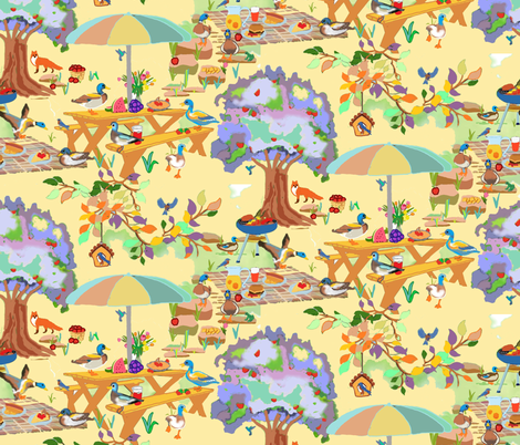 Burgers, Hot Dogs and Quackers fabric by adrianne_vanalstine on Spoonflower - custom fabric