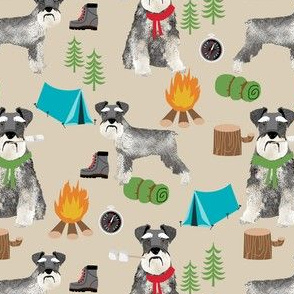 schnauzer camping fabric - dog dogs design tent sleeping bag dog fabric - tan