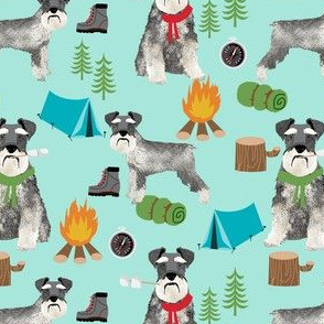 schnauzer camping fabric - dog dogs design tent sleeping bag dog fabric - mint